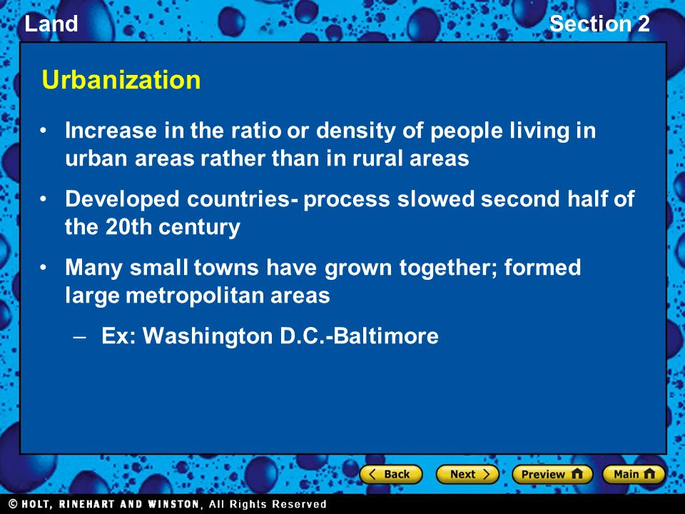 Urbanization Increase in the ratio or density of people living in urban areas rather than in rural areas.