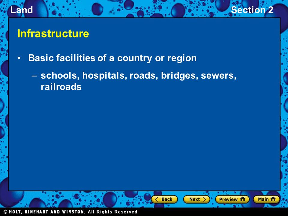 Infrastructure Basic facilities of a country or region