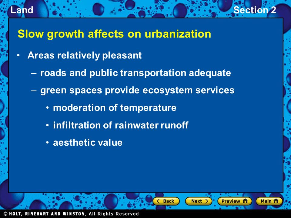 Slow growth affects on urbanization