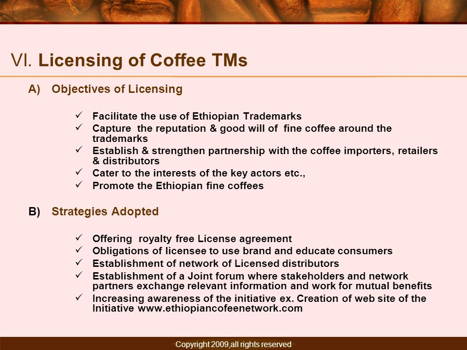 VI. Licensing of Coffee TMs