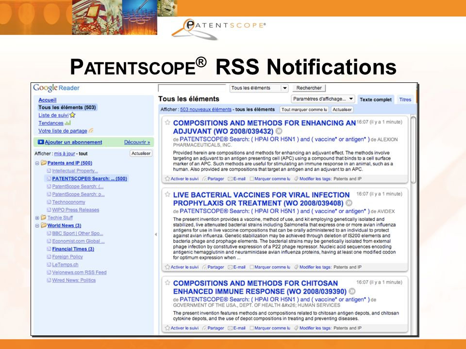 PATENTSCOPE® RSS Notifications