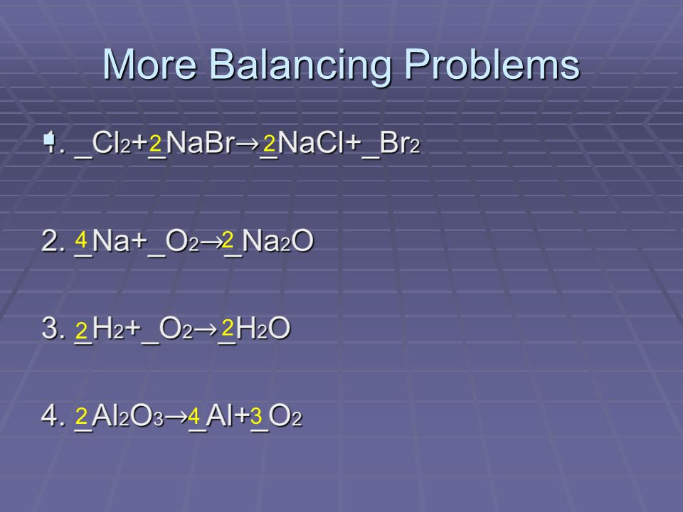 More Balancing Problems