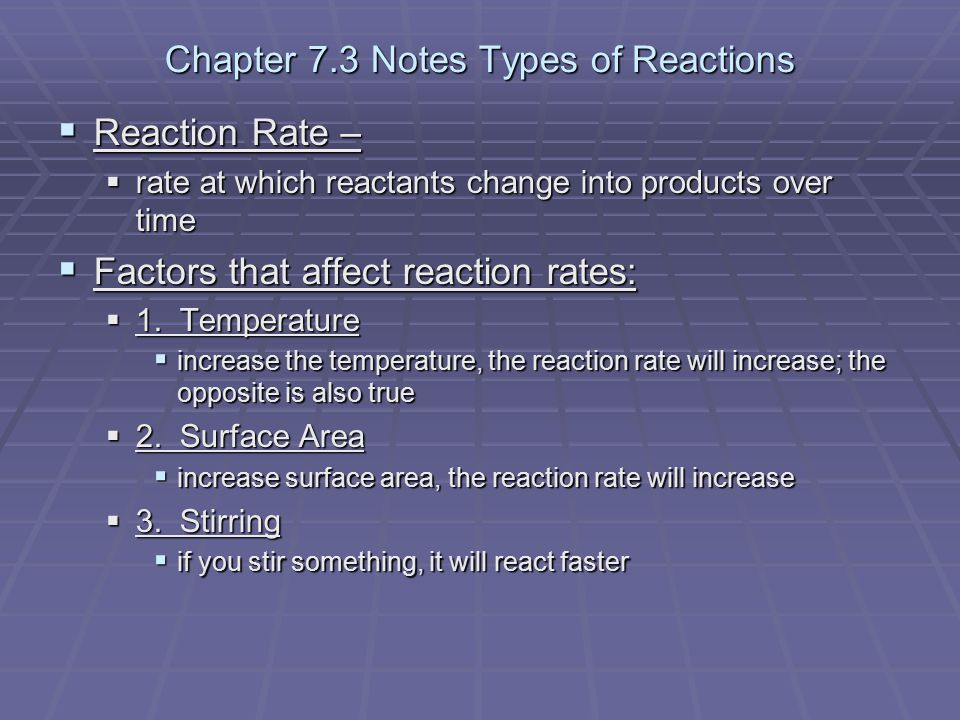 Chapter 7.3 Notes Types of Reactions