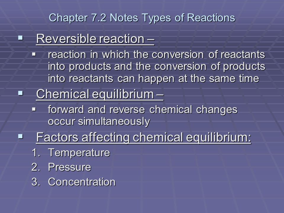 Chapter 7.2 Notes Types of Reactions