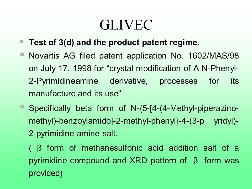GLIVEC Test of 3(d) and the product patent regime.