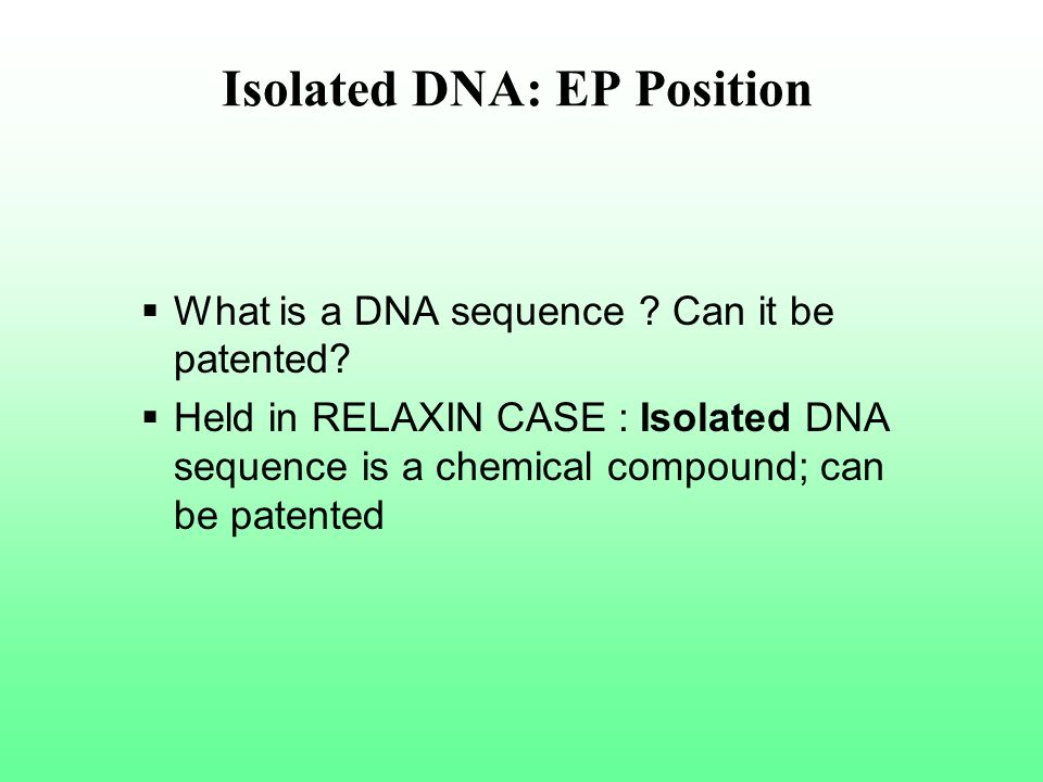 Isolated DNA: EP Position