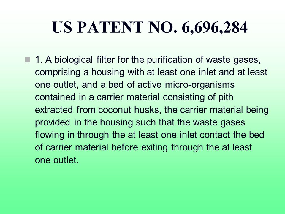 US PATENT NO. 6,696,284