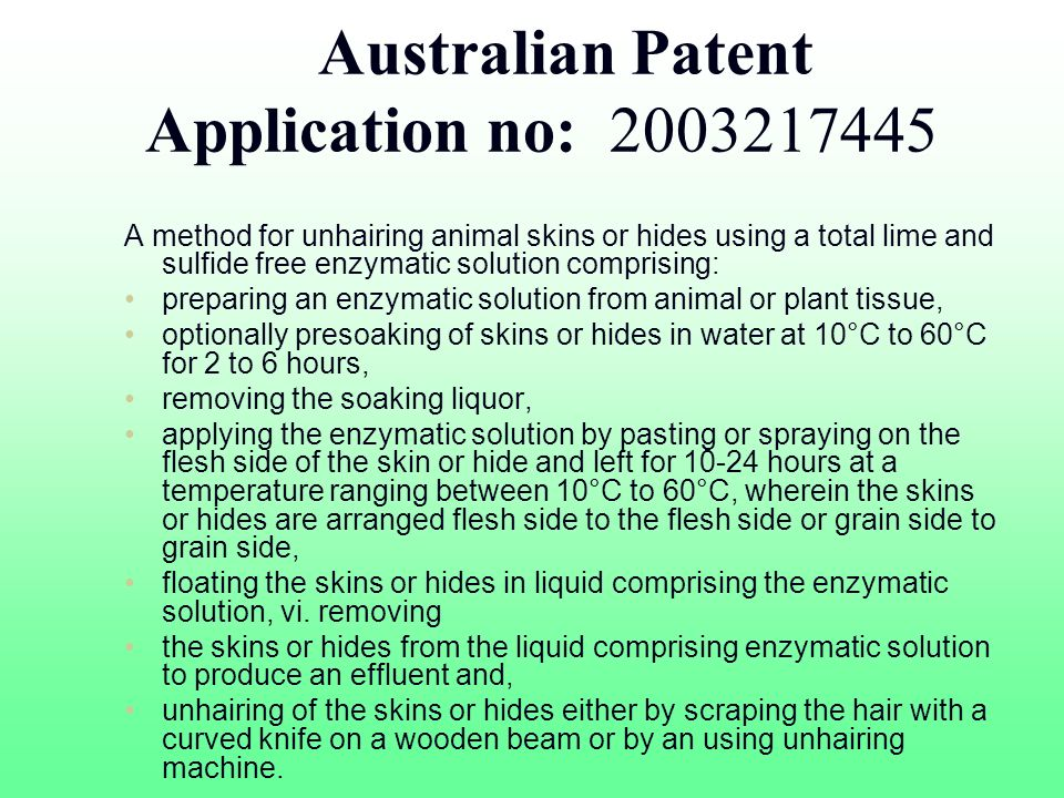 Australian Patent Application no: 2003217445