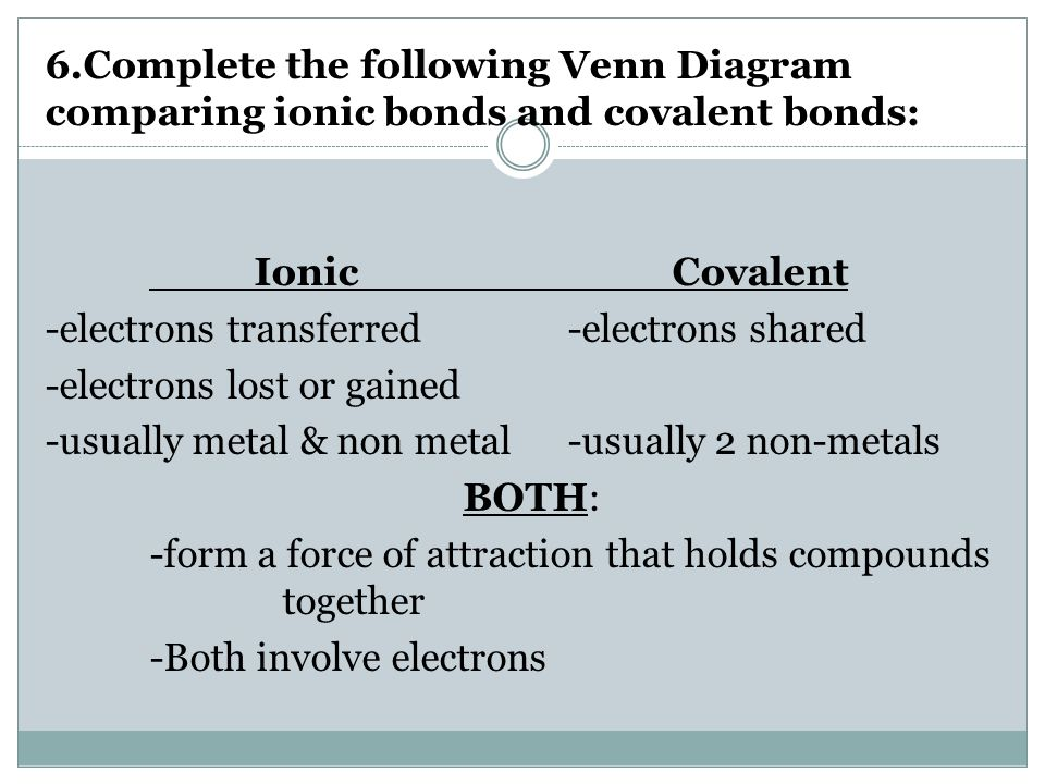 Difference Between Ionic And Covalent Bonds Venn Diagram - Auto ...