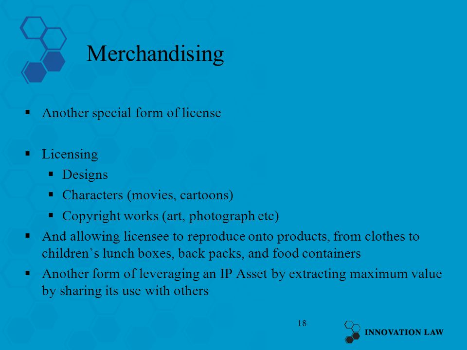 Merchandising Another special form of license Licensing Designs