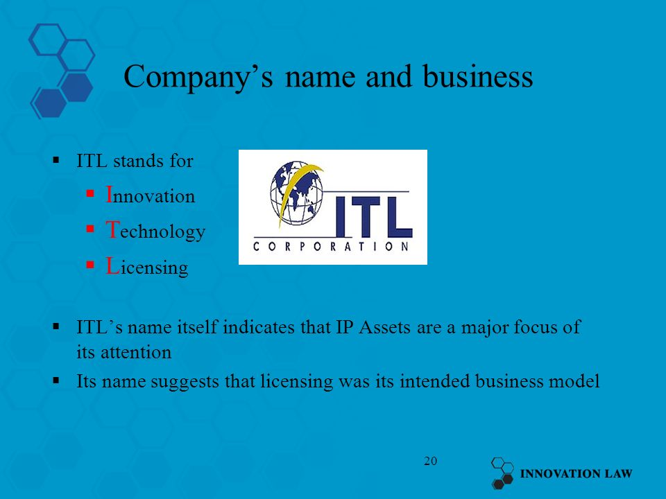 Company's name and business