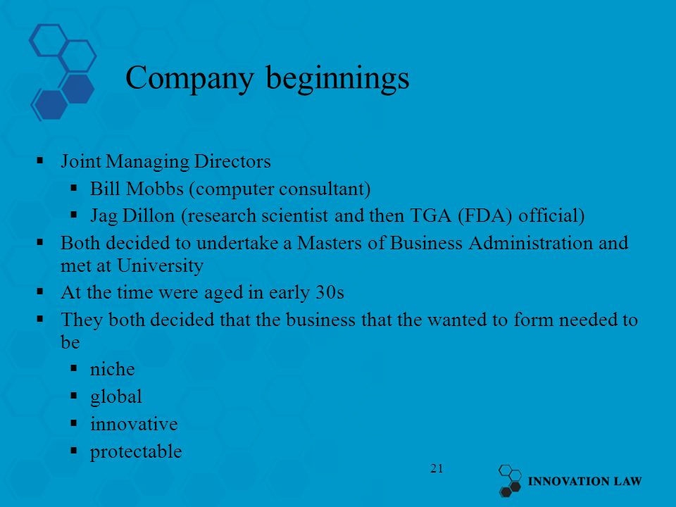 Company beginnings Joint Managing Directors