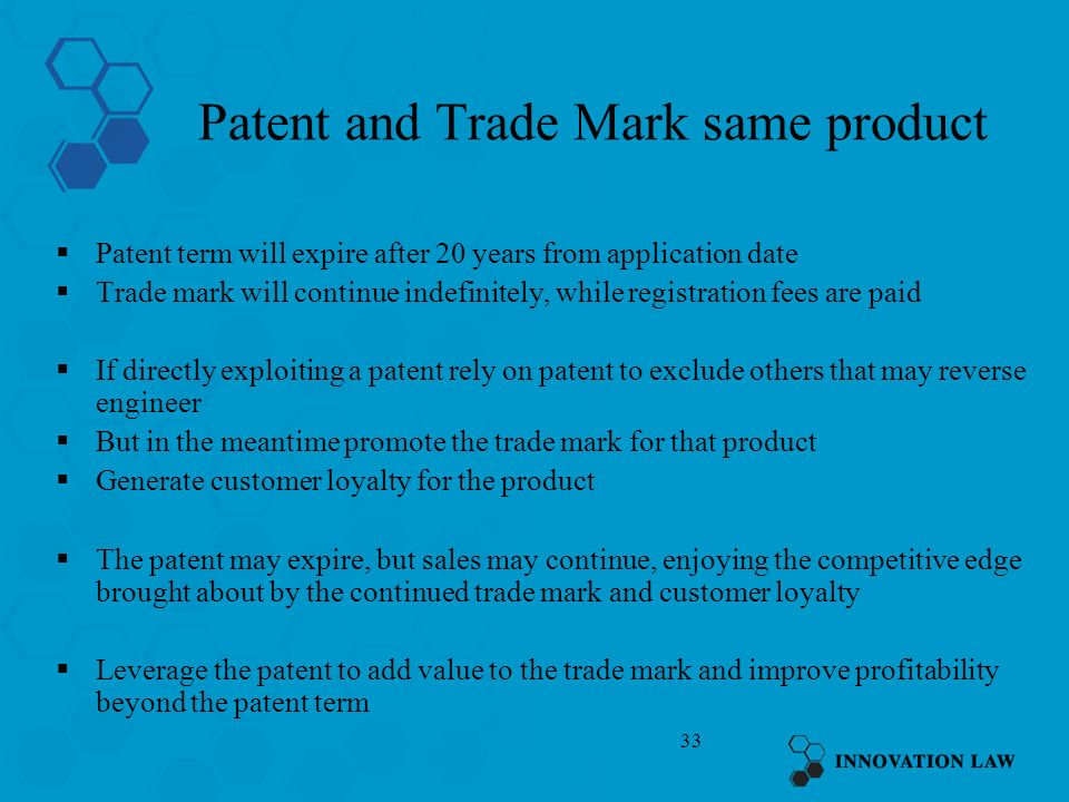 Patent and Trade Mark same product