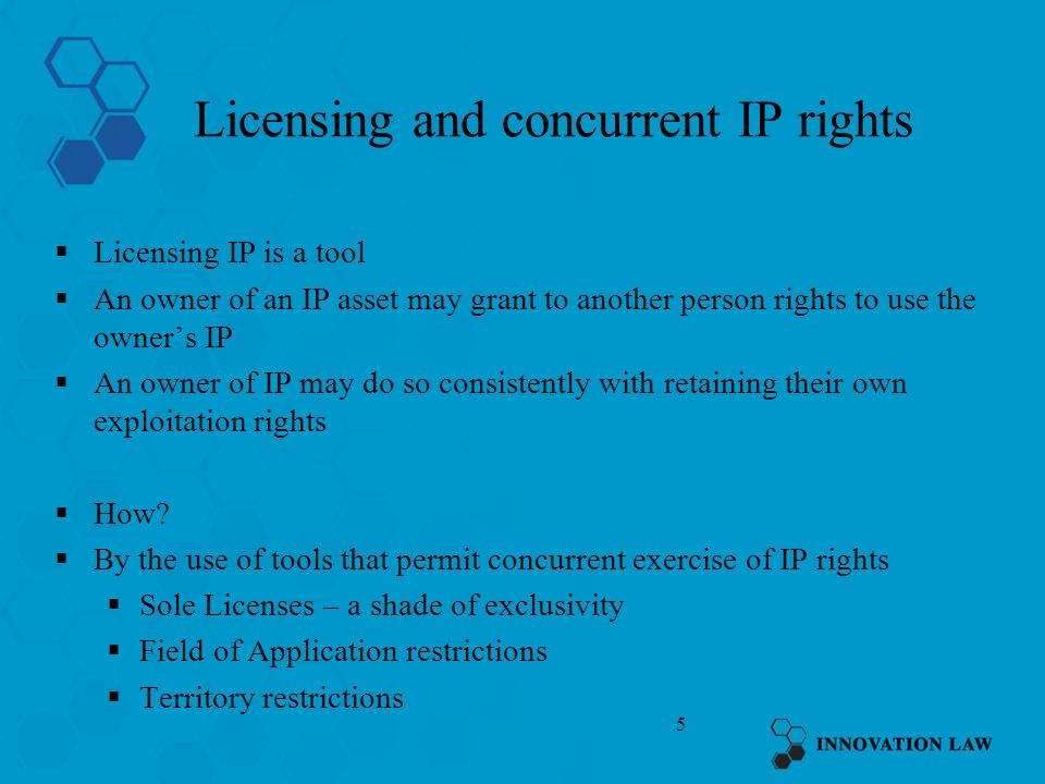 Licensing and concurrent IP rights