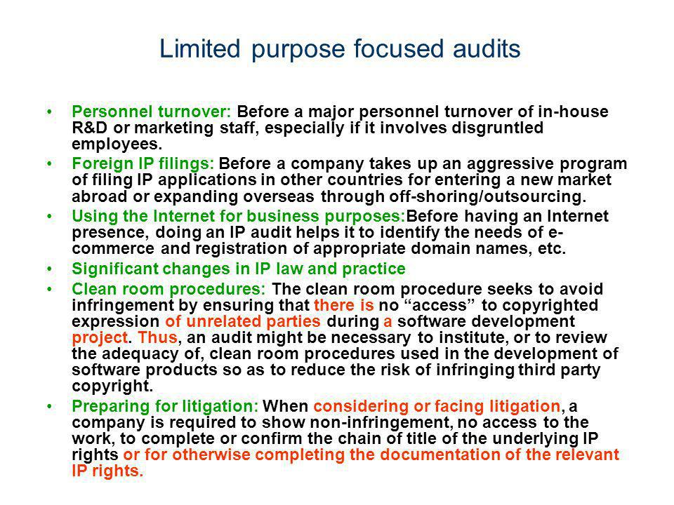 Limited purpose focused audits