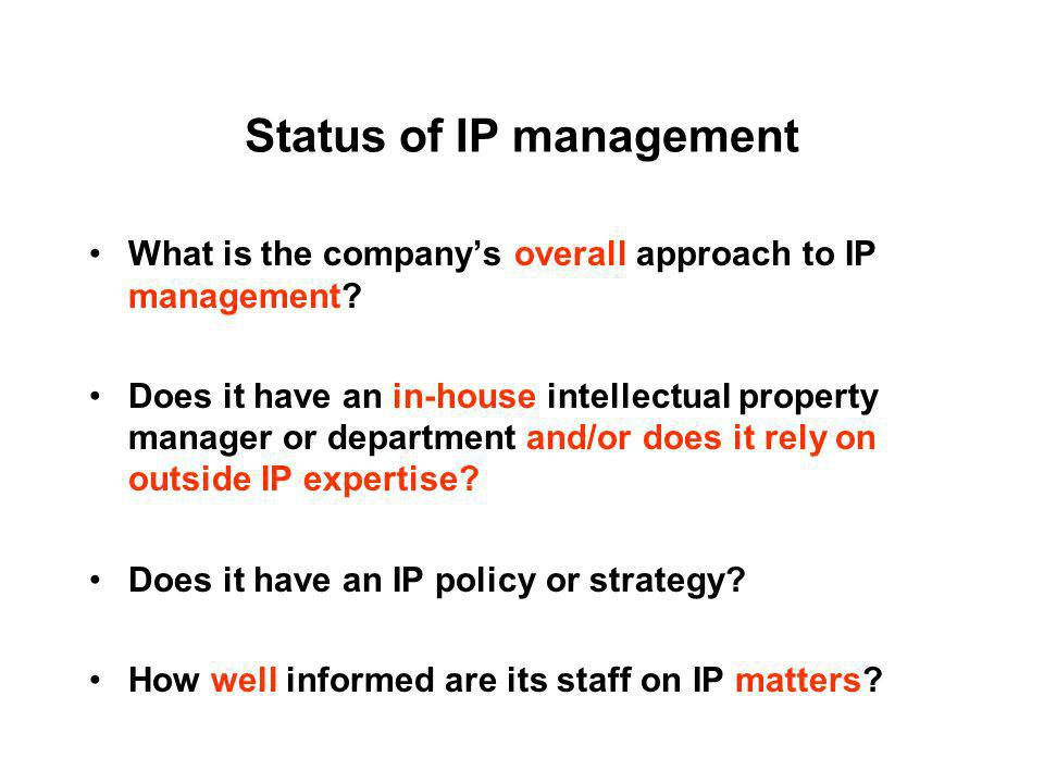 Status of IP management