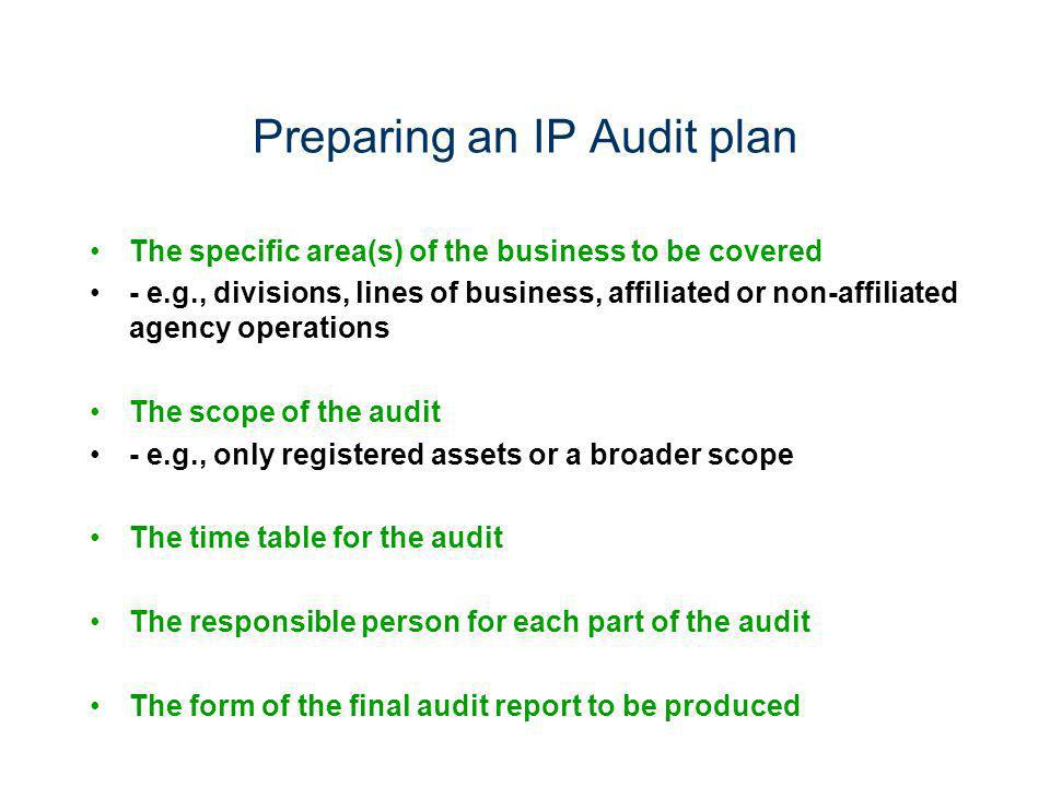 Preparing an IP Audit plan