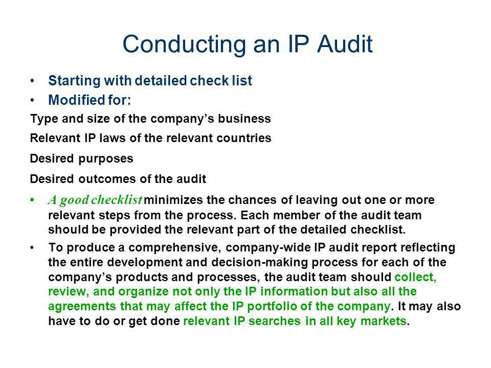 Conducting an IP Audit Starting with detailed check list Modified for: