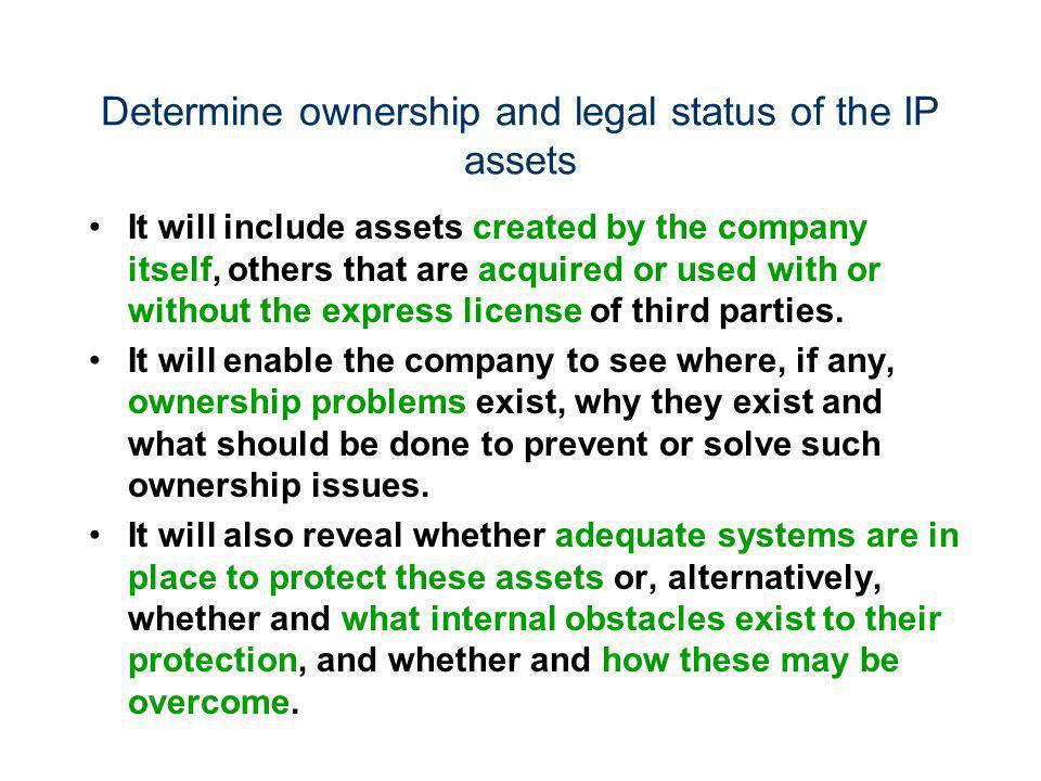 Determine ownership and legal status of the IP assets