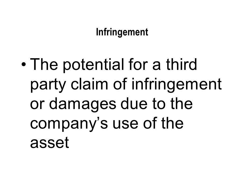 Infringement The potential for a third party claim of infringement or damages due to the company's use of the asset.