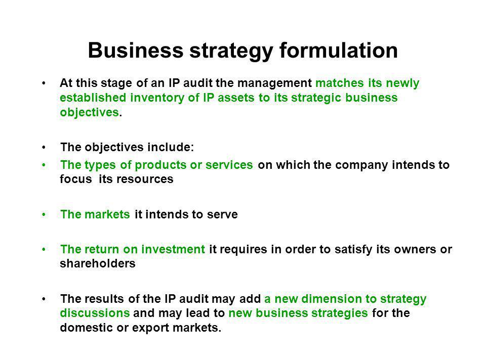 Business strategy formulation