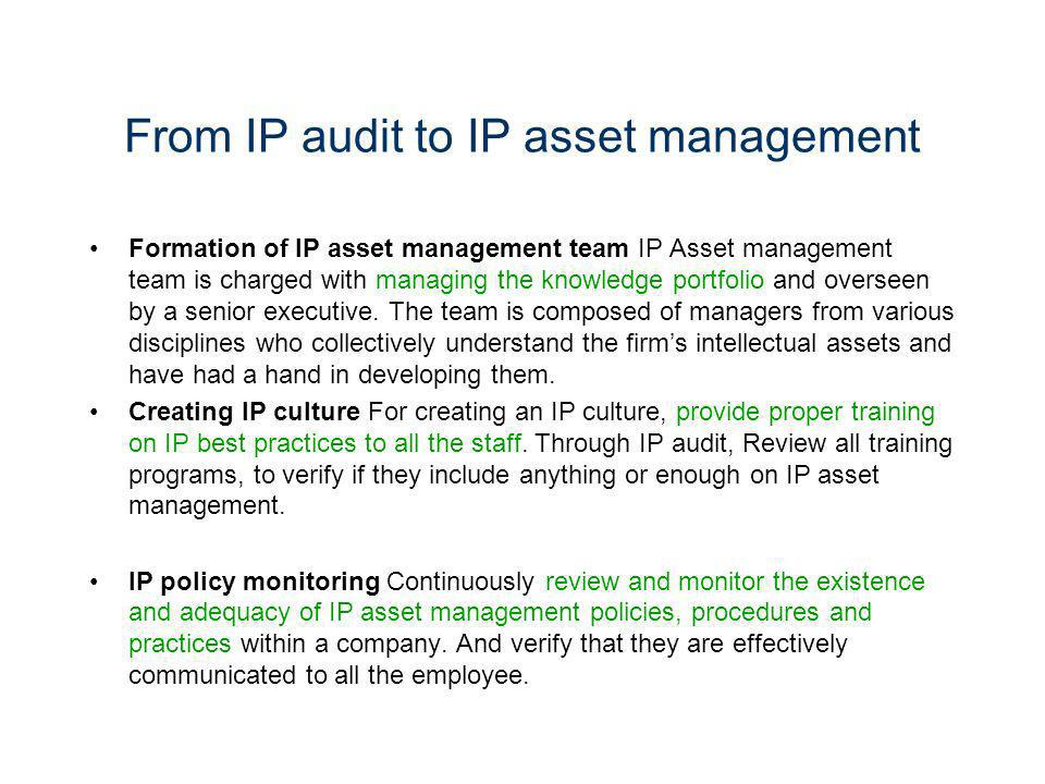 From IP audit to IP asset management