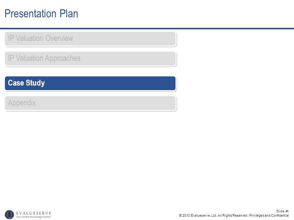 Presentation Plan IP Valuation Overview IP Valuation Approaches