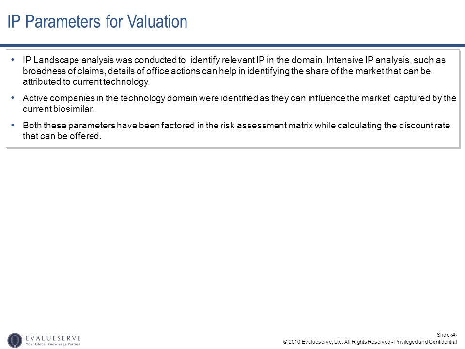 IP Parameters for Valuation