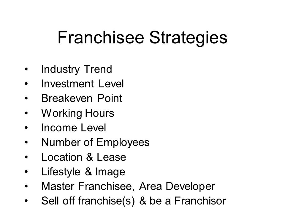 Franchisee Strategies