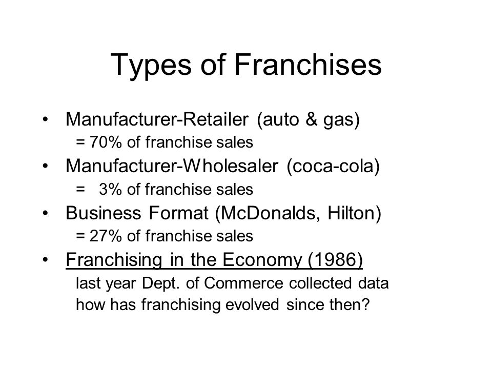 Types of Franchises Manufacturer-Retailer (auto & gas)