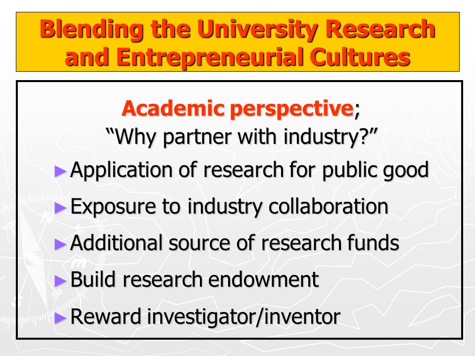 Blending the University Research and Entrepreneurial Cultures