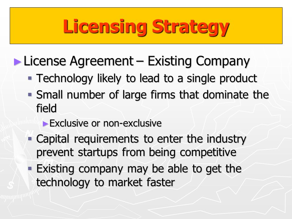 Licensing Strategy License Agreement – Existing Company