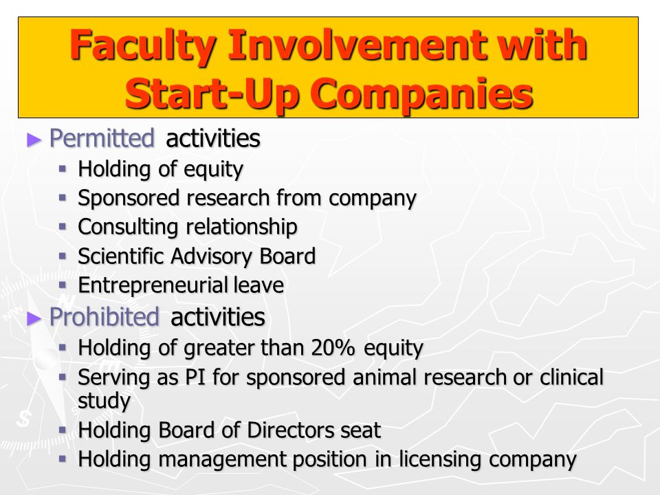 Faculty Involvement with Start-Up Companies