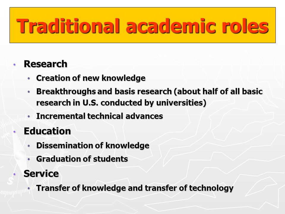 Traditional academic roles