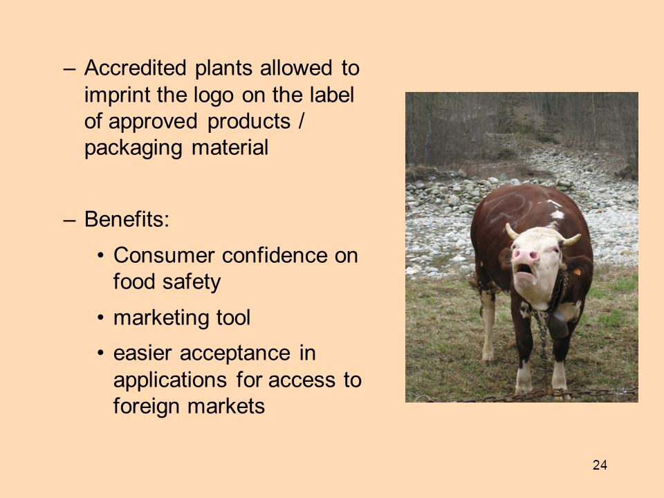 Accredited plants allowed to imprint the logo on the label of approved products / packaging material