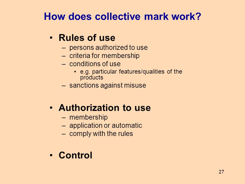 How does collective mark work