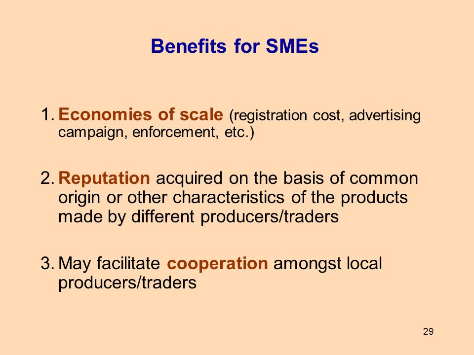 Benefits for SMEs 1. Economies of scale (registration cost, advertising campaign, enforcement, etc.)