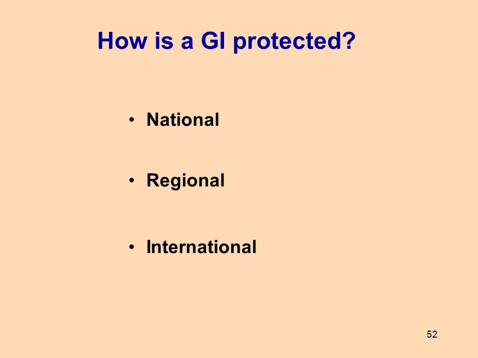 How is a GI protected National Regional International