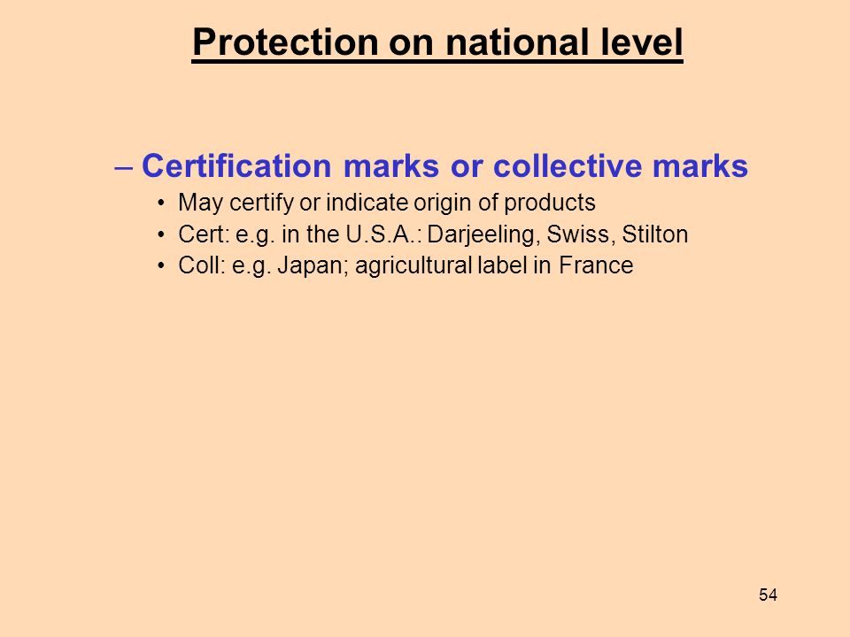 Protection on national level