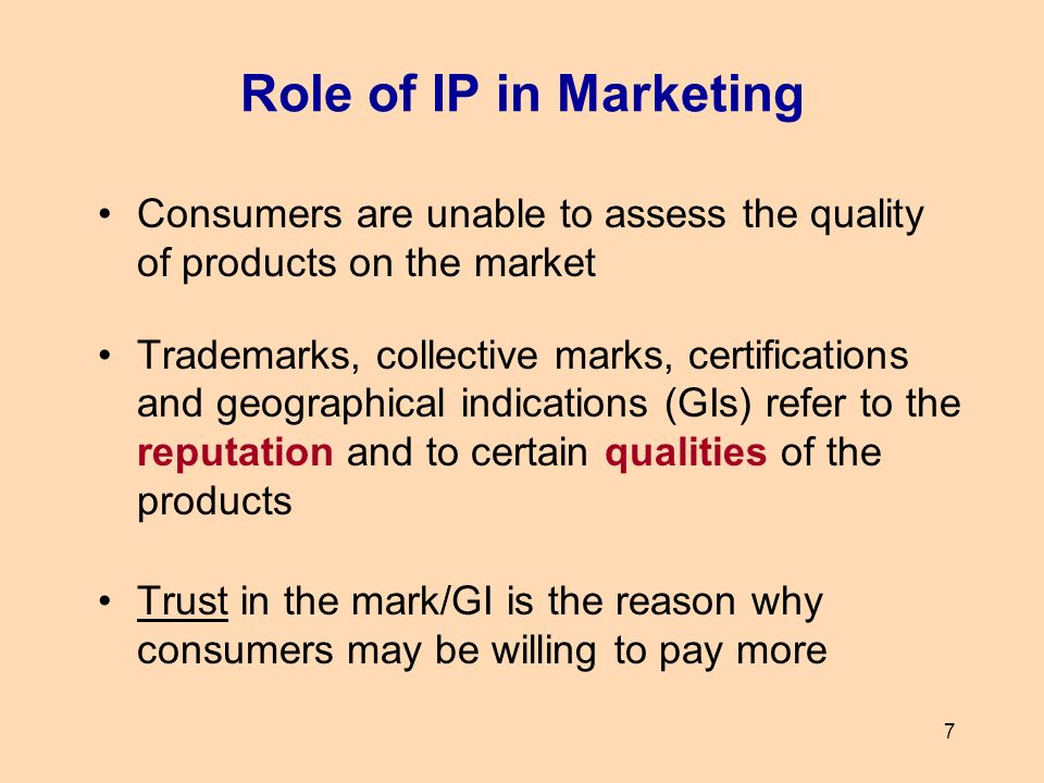 Role of IP in Marketing Consumers are unable to assess the quality of products on the market.
