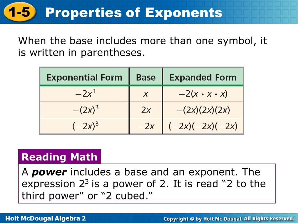 Properties Of Exponents Ppt Download
