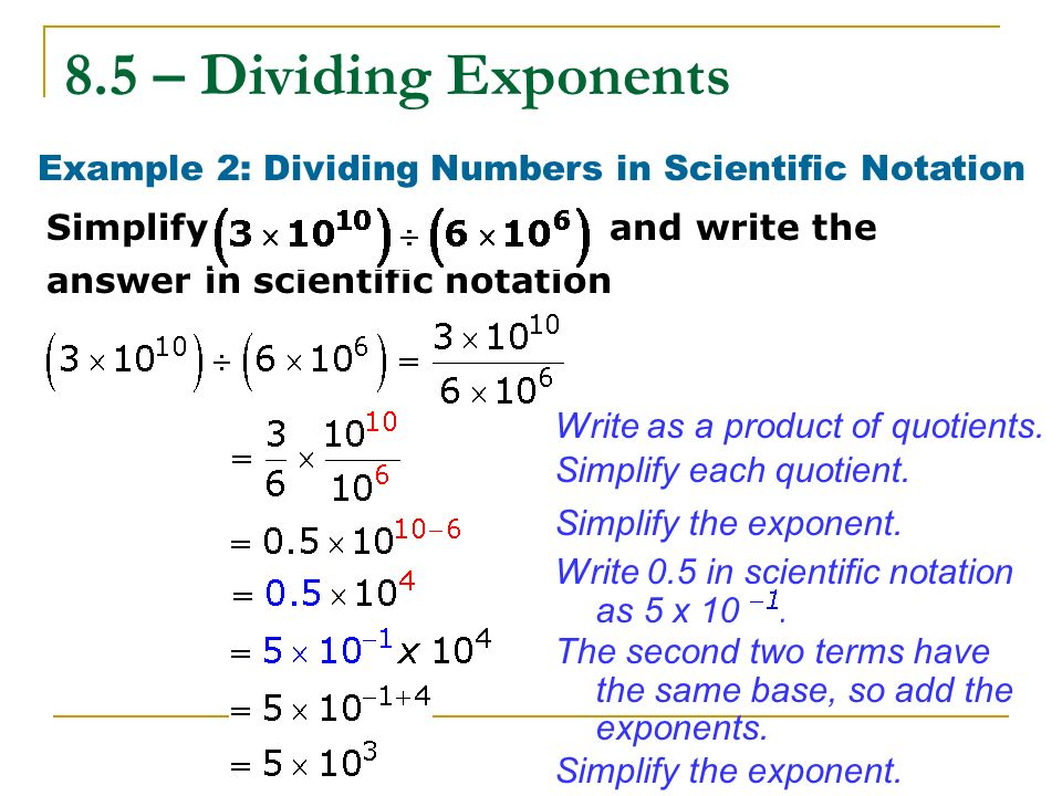 how to divide scientific notation by a whole number
