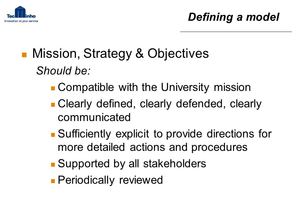 Mission, Strategy & Objectives