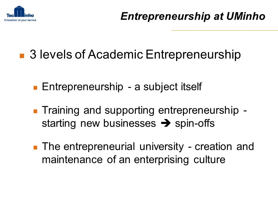 3 levels of Academic Entrepreneurship