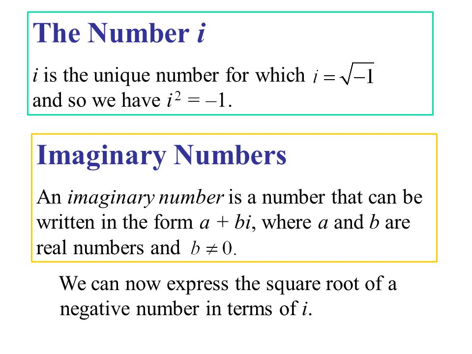The Number i Imaginary Numbers