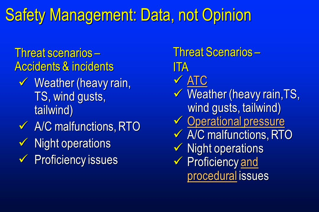Safety Management: Data, not Opinion