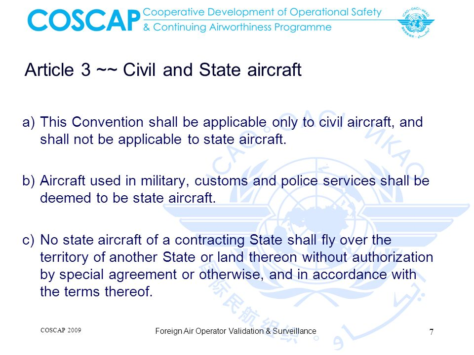 Article 3 ~~ Civil and State aircraft
