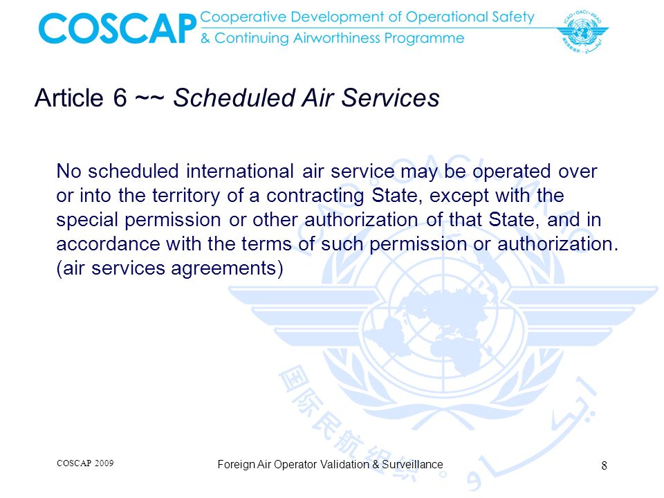 Article 6 ~~ Scheduled Air Services
