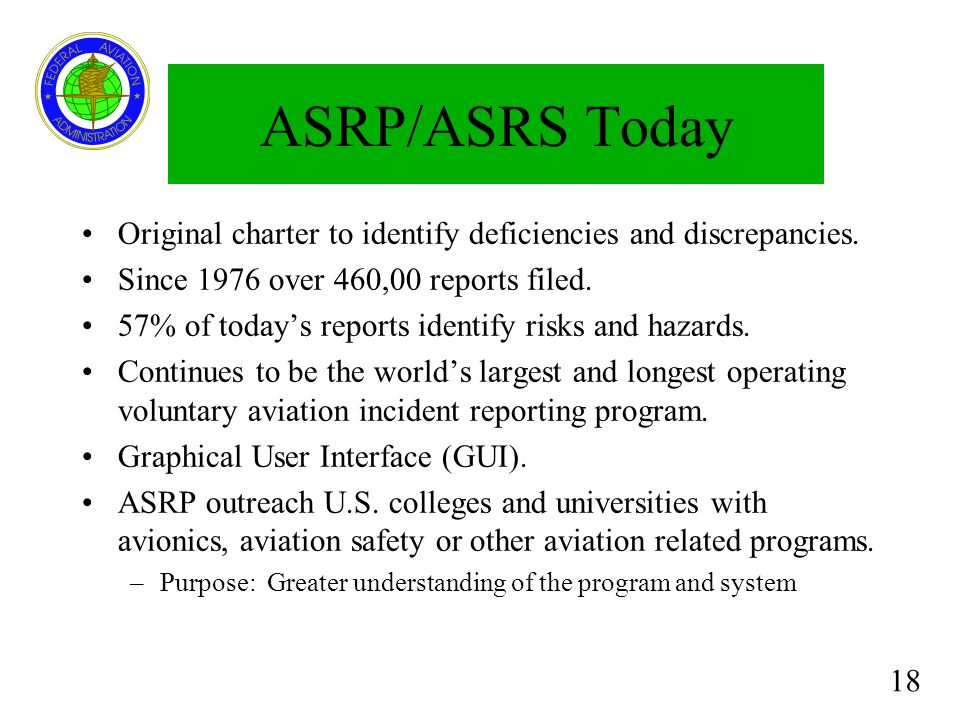 ASRP/ASRS Today Original charter to identify deficiencies and discrepancies. Since 1976 over 460,00 reports filed.