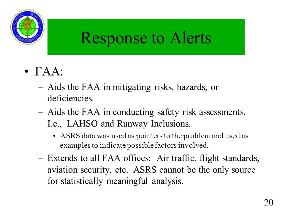 Response to Alerts FAA: